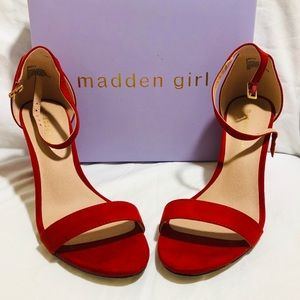 Madden Girl Red Sandals Suede Strap Block Heel
